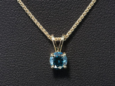 9kt Yellow Gold 4 Claw Set Pendant with Round Brilliant Cut Blue Treated Diamond 0.50ct