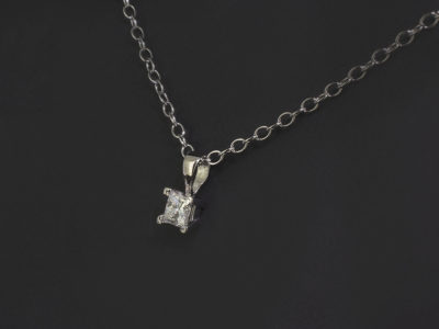 Platinum Claw Set Pendant, Princess Cut Diamond, 0,31ct, H Colour, SI Clarity on Trace Chain