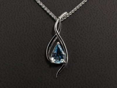 Platinum Swirl Design Claw Set Pendant with Pear Shaped Aquamarine 0.66ct with Platinum Spiga Chain