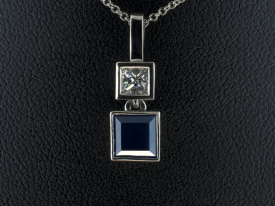 Princess Cut Sapphire 1.17ct with Princess Cut Diamond 0.26ct F VS in Palladium Rub Over Setting
