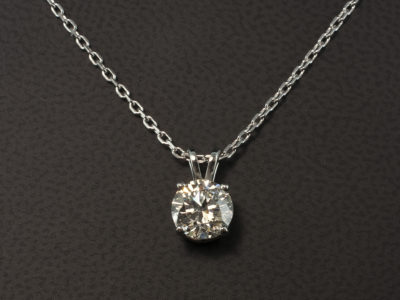 Round Brilliant Cut Diamond Pendant 1.51ct J Colour VS2 Clarity Excellent Cut, Excellent Polish, Excellent Symmetry in a 4 Claw 18kt White Gold Double Bale Design