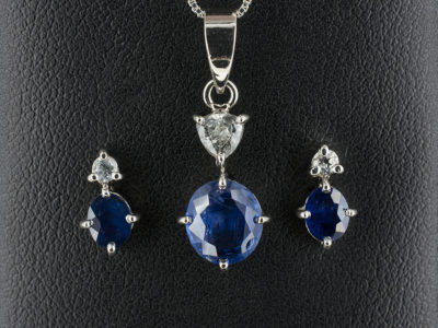 Sapphire and Diamond Pendant & Earrings set, 14kt White Gold