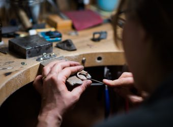 Blair and Sheridan in-house goldsmith working with Lab Grown diamonds