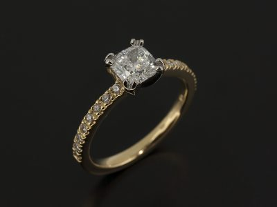 Lab Grown Diamond Cushion Cut 0.74ct E VS1 EXEX in a Platinum 4 claw and 18kt Yellow Claw Set Design