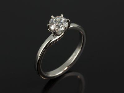 Platinum 6 Claw Twist Design with Round Brilliant Cut Lab Grown Diamond 0.77ct E Colour VS2 Clarity Ex Cut Polish and Symmetry