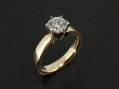 Platinum and 18kt Yellow Gold 6 Claw Contemporary Solitaire Design wih Lab Grown Round Brilliant Cut 1.03ct E Colour SI1 Clarity EXEXEX