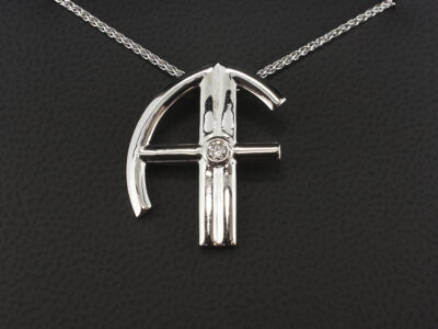 18kt White Gold AF Initial Pendant with 0.10ct Round Brilliant Cut Diamond and Spiga Chain