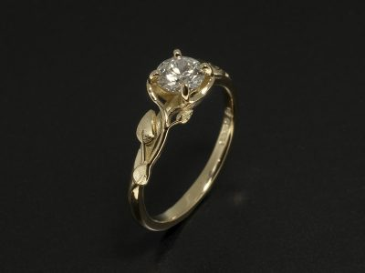 18kt Yellow Gold Floral Design Claw Set Design with Lab Grown Round Brilliant Cut Diamond 0.40ct D Colour VS2 Clarity EXEXEX