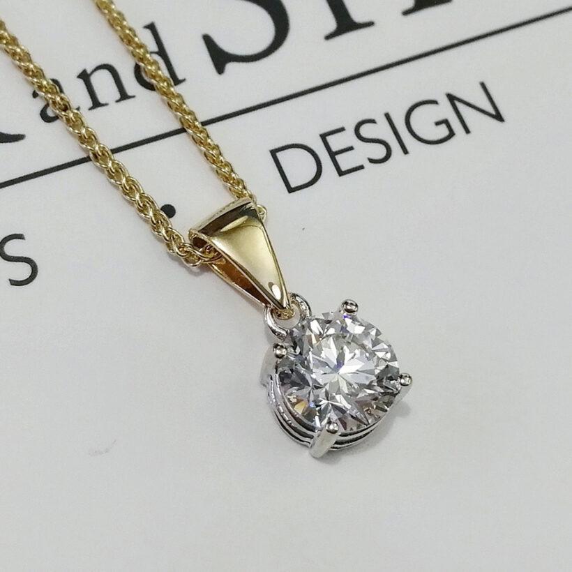 18kt Yellow and White Gold, Round Brilliant Cut LAB Diamond, 1.25ct