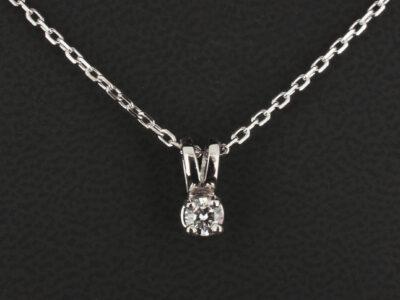 9kt White Gold Claw Set Pendant Design, 0.20ct Round Brilliant Cut Diamond, F Colour, SI Clarity, 18 Inch Trace Chain
