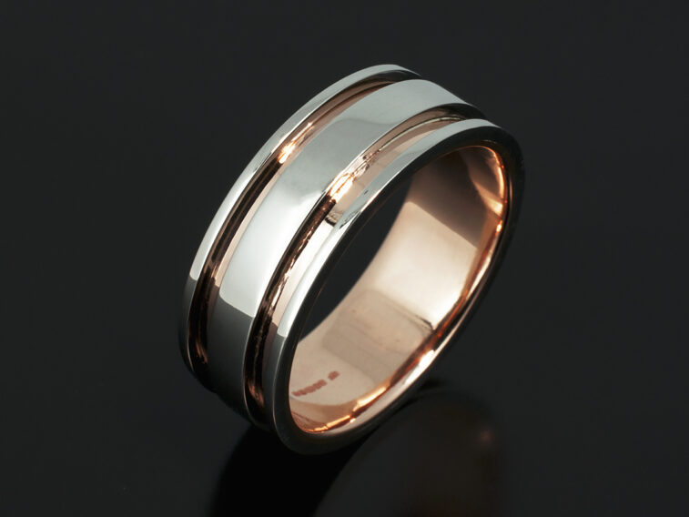 18kt Rose Gold & Platinum Two Tone Design Gents Wedding Ring