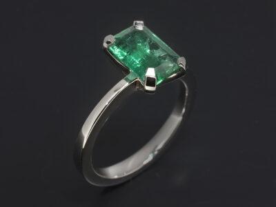 Platinum Four Claw Solitaire Design, Emerald Cut Emerald 1.92ct