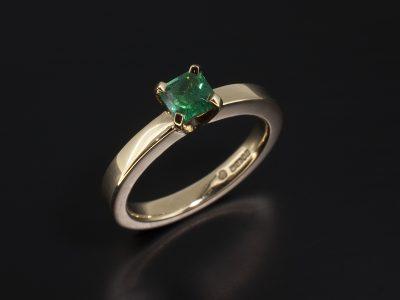 Asscher Cut Emerald 0.47ct in a 9kt Yellow Gold Contemporary Solitaire Design
