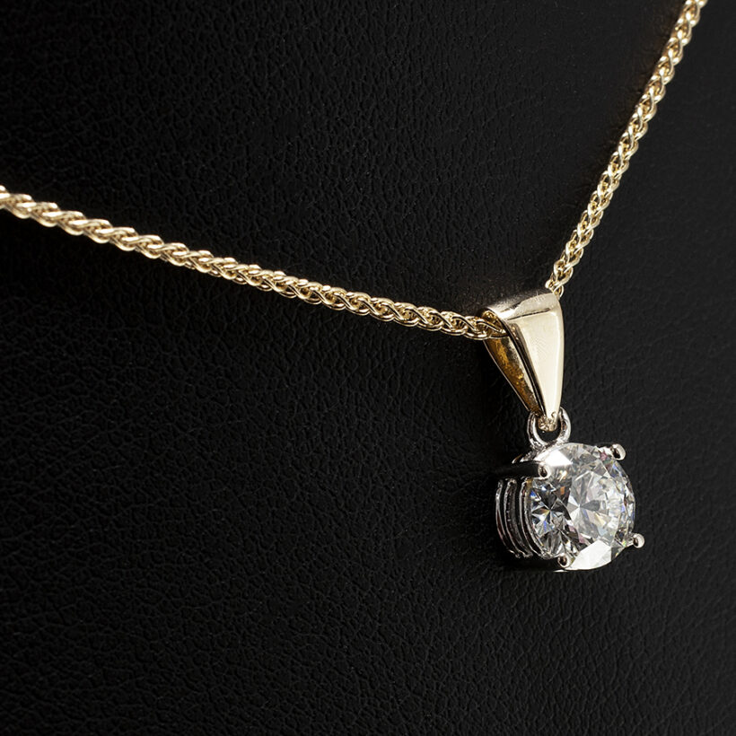 1.25ct Lab Grown Diamond 18kt White Gold Claw Set Design with 18kt Yellow Gold 18 Inch Spiga Chain