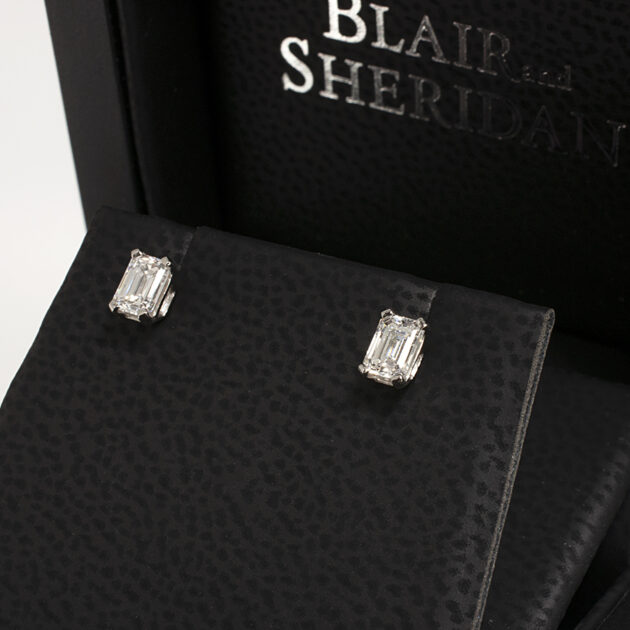 Platinum Claw Set Emerald Cut Diamond Studs with Alpha Fittings