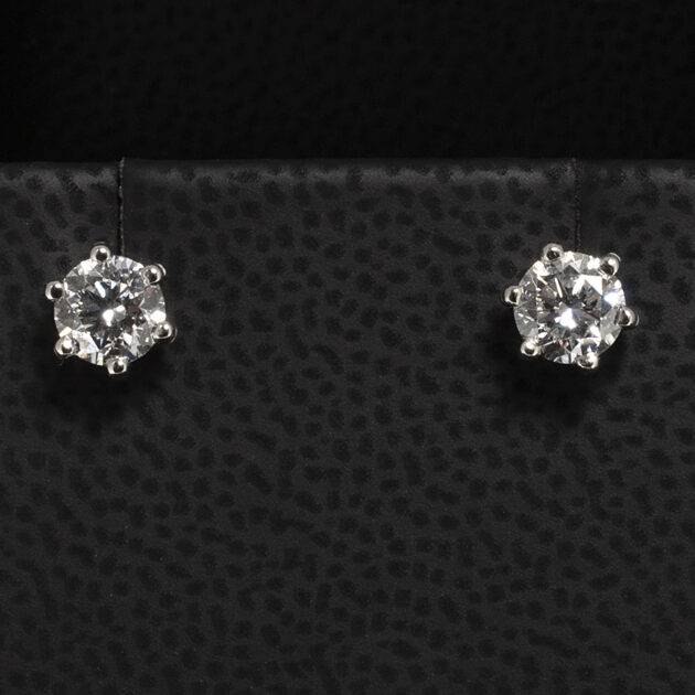 Platinum Six Claw Set Round Brilliant Cut Lab Diamond Studs with Alpha Fittings