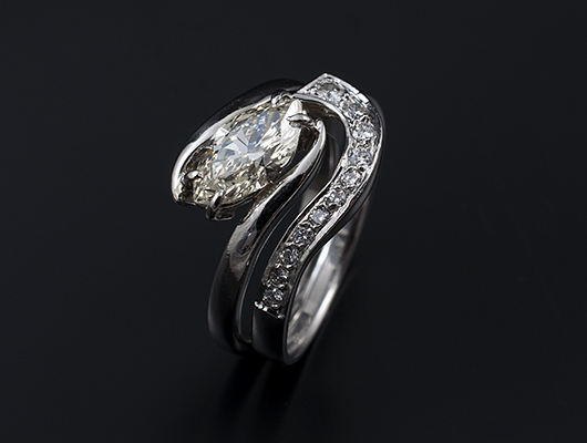 Marquise Cut Diamond Twist Design Engagement Ring with Fitted Pavè Set Diamond Wedding Ring