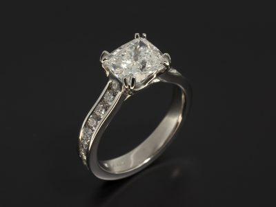 Platinum Double Claw and Channel Set Design with Lab Grown Cushion Cut Diamond 2.08ct E Colour VS1 Clarity EXEX and Round Brilliant Cut Diamonds in Shoulders 0.68ct Total F Colour VS Clarity Min