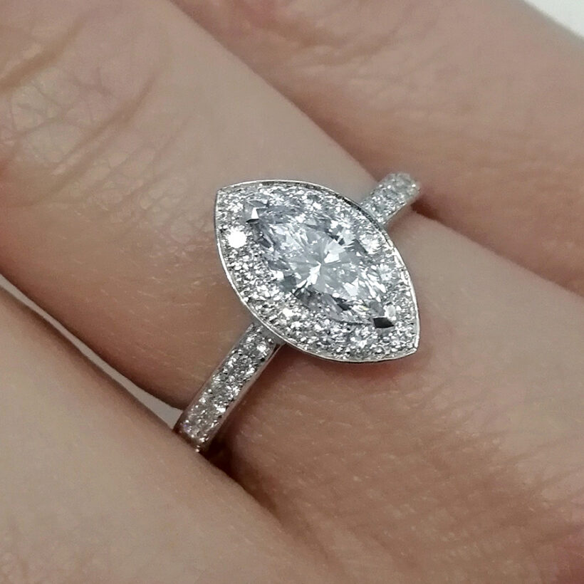 Marquise Cut Diamond 0.51ct Platinum Claw and Pavé Set Halo Design Engagement Ring