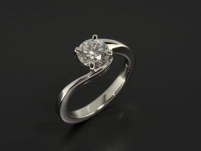 Platinum 4 Claw Set Twist Design with Round Brilliant Cut Diamond 0.90ct E Colour VS1 Clarity EXEXEX