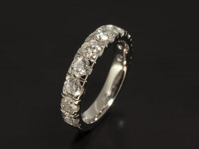 Platinum Castle Set Wedding Ring with Round Brilliant Cut Diamonds x 10 1.83ct Total G Colour VS Clarity
