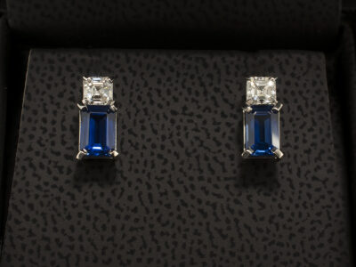Platinum Claw Set Earrings with Emerald Cut Sapphires 1.38ct and Asscher Cut Diamonds 0.45ct F Colour VS1 Clarity