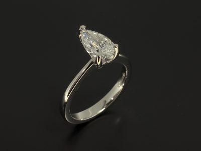 Platinum Claw Set Fine Design with Lab Grown Pear Cut Diamond 1.08ct E Colour VS1 Clarity