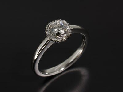 Platinum Claw and Castle Set Diamond Halo Design with Round Brilliant Cut Centre Diamond 0.30ct G Colour VS Clarity