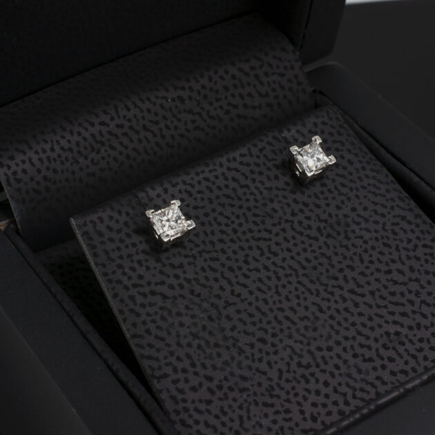 Platinum Claw Set Natural Princess Cut Diamond Studs with Alpha Fittings.