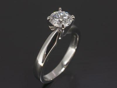 Platinum Four Claw Solitaire Design, Round Brilliant Cut Diamond, 0.93ct,