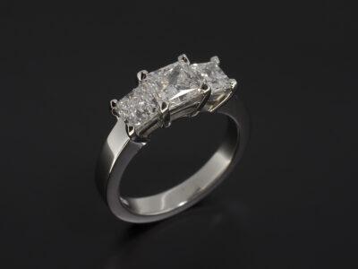 Platinum Trilogy Claw Set Design with Princess Cut Lab Grown Diamond 1.03ct F VVS2 and Side Princess Cut Lab Grown Diamonds 1.00ct Total F VS