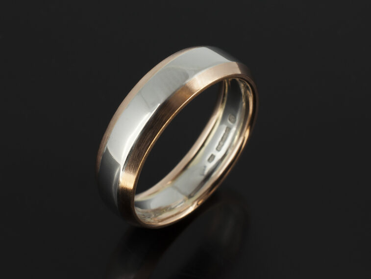 Platinum and 18kt Red Gold Chamfered Design Gents Wedding Ring with Polished and Brushed Finish