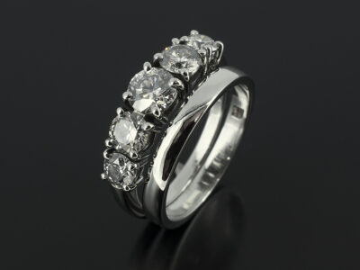 Round Brilliant Cut 5 Stone Ring with Fitted Platinum Wedding Ring