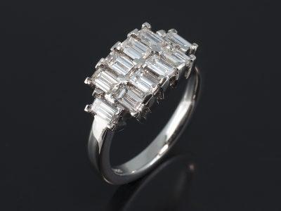 Platinum Claw Set Design. Baguette Cut Diamonds, 1.56ct (10). F Colour, SI Clarity.