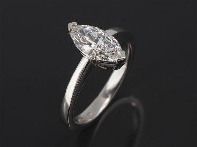 Platinum Claw Set Solitaire Design. Marquise Cut Diamond, 1.20ct. D Colour, SI1 Clarity.