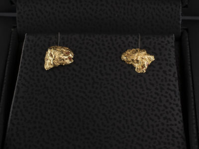 Yellow Gold Nugget Stud Earrings Secret Set with 1.5mm RBC diamonds
