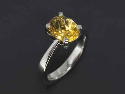 Platinum Claw Set Solitaire Dress Ring, 1.62ct Oval Citrine