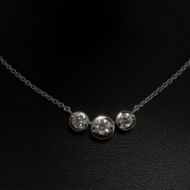 18kt White Gold 2 Claw Set Trilogy Design Pendant Round Brilliant Cut Diamonds 0.75ct (3)