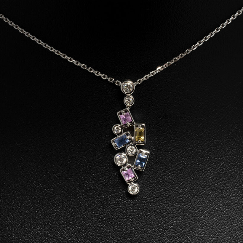 18kt White Gold Claw and Rub Over Set Multi Colour Design, Round Brilliant Cut Diamonds 0.27ct (6), Baguette Cut Blue, Pink and Yellow Sapphires 0.53ct (5), HSI