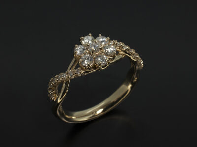 14kt Gold Claw Set Cluster Swirl Design Dress Ring with Round Brilliant Cut Diamonds 0.62ct Total