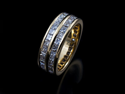 18kt Yellow Gold Double Row Full Channel Set Princess Cut Diamond Eternity Ring