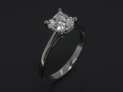 Platinum Claw Set Solitaire Design engagement ring. Princess Cut Lab Grown Diamond, 1.33ct. E Colour, VS1 Clarity. Excellent Polish, Excellent Symmetry.