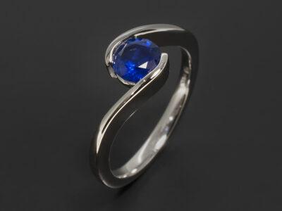 Platinum Part Rub over Solitaire Design Ladies Ring, Round Blue Sapphire 0.93ct