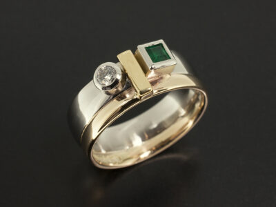 Platinum 9kt and 18kt Yellow Gold Rub Over Set Contemporary Dress Ring with Square Emerald 0.16ct and Round Brilliant Cut Diamond 0.10ct