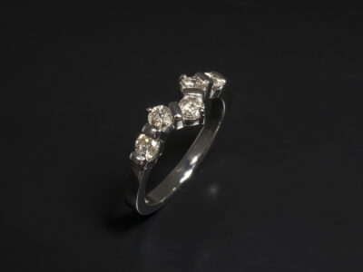 Platinum Bar Set Fitted Wedding Ring with Round Brilliant Cut Diamonds 0.51ct Total