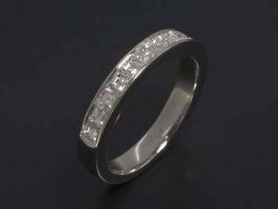 Platinum Channel Set, Carré Cut Diamonds 0.98ct Total (15) F Colour VS Clarity
