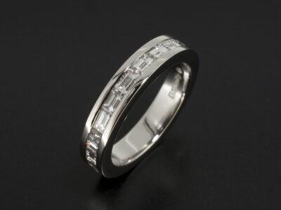 Platinum Channel Set Eternity Ring with Baguette Cut Diamonds 1.01ct Total F Colour VS Clarity Min