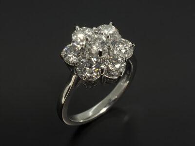 Platinum Claw Set Cluster Design with Round Brilliant Cut Diamonds 2.73ct Total F Colour VS Clarity Min