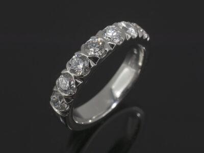 Platinum Detailed Claw Set Design with Round Brilliant Cut Diamonds 1.09ct Total