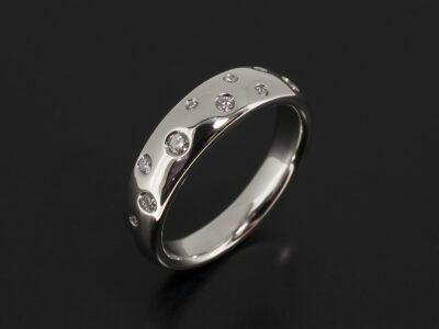 Platinum Secret Set Scatter Design Dress Ring with Round Brilliant Cut Diamonds 0.28ct Total